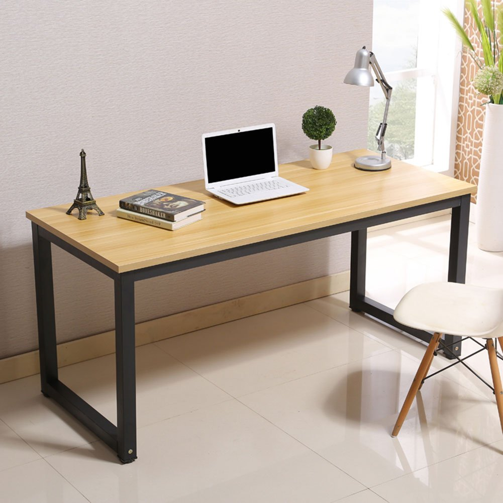Modern Simple Style Computer Desk PC Laptop Study Table Office Desk Workstation for Home Office, Walnut, Black Leg L47.2 X W23.6 X H29.1 Inch
