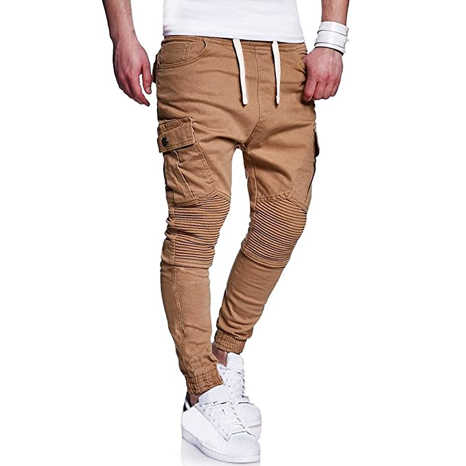 Chándal de Hombres JiaMeng Moda Pantalones de chándal de Hombre Pantalones Casuales Cinturones de sujeción Pantalones Sueltos onales Pantalón ...