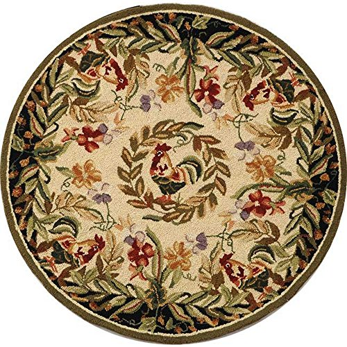 (Safavieh Chelsea Collection HK92A Hand-Hooked Cream and Black Premium Wool Round Area Rug (4' Diameter))