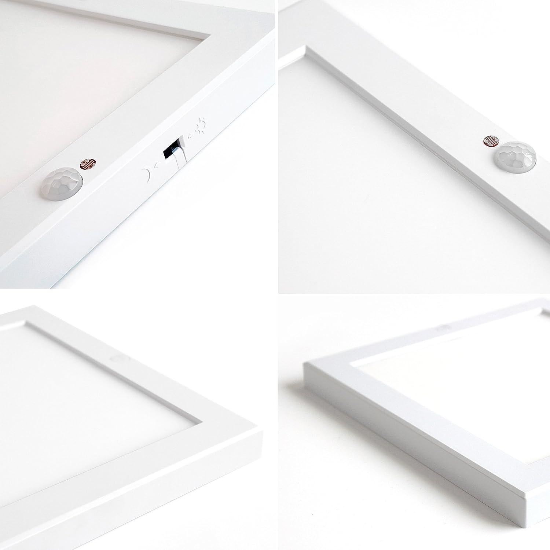 LED Sensor lámpara plafón con detector de movimiento rectangular 220 x 220 mm 18 W Sensor Lámpara neutralweiß flickerfrei - Lámpara de techo, con fuente de ...
