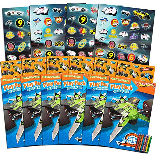 Hot Wheels Party Favors (Hot Wheels Party Favors Pack ~ Bundle of 6 Hot Wheels Play Packs Filled with Stickers, Coloring Books, Crayons with Bonus Stickers (Hot Wheels Party Supplies) )