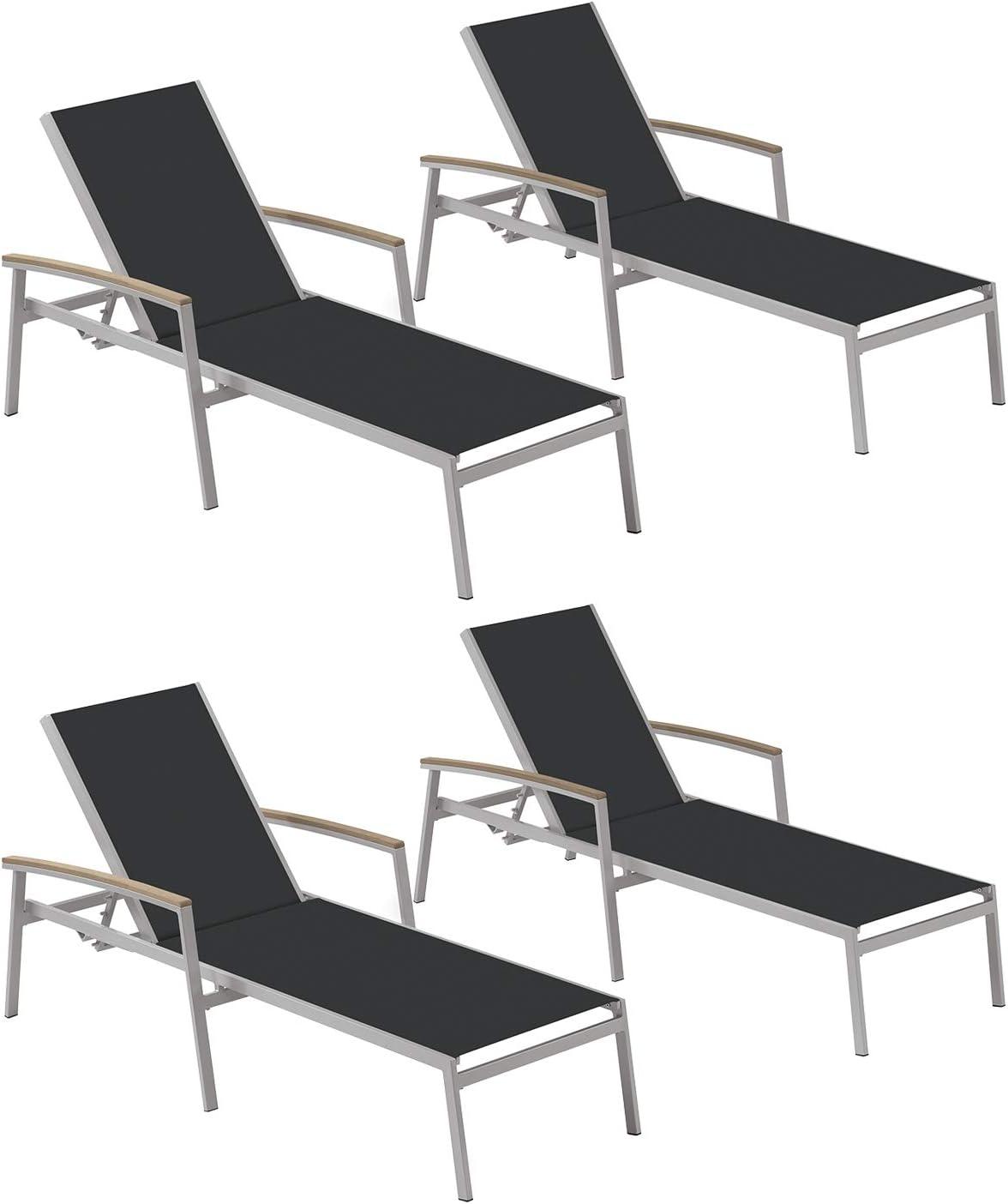 Oxford Garden Travira TVL80BV4 Chaise Lounge - Black Sling - Vintage Tekwood Armcaps - Set of 4