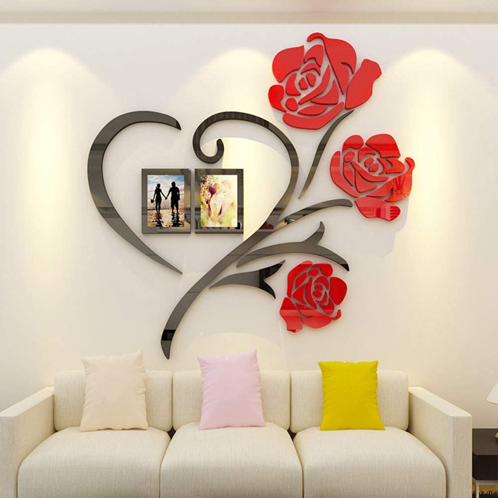 Rose Love 3D Flower Wall Decals DIY Wall Sticker Home Decor for Bedroom Living Room Sofa Backdrop Tv Wall Background Originality Stickers Gift (Red,19X19 inches)