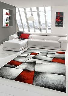 Designer Teppich Moderner Teppich Wohnzimmer Teppich Kurzflor Teppich Mit  Konturenschnitt Karo Muster Rot Grau Weiß Schwarz