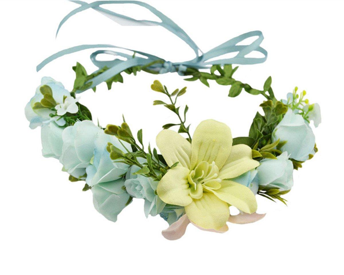 Fashion Lily Flower Wreath Headwear Bridal Floral Crown Headdress Bohemian Garland for Wedding Festival