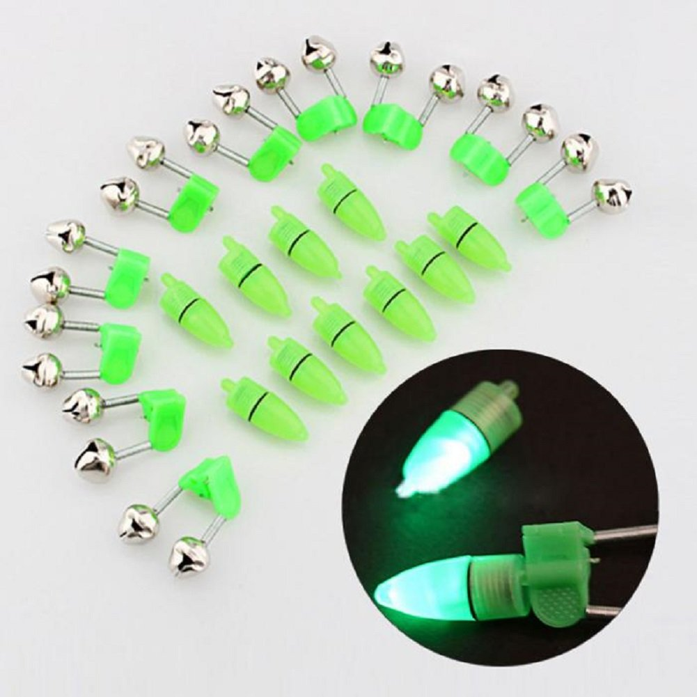 NiceButy 10 Piece LED Clip Fishing Rod Dual Bell Electronic LED Light in Shape for Fishing Rod Binoculars Bells Fishing Bait Alarm