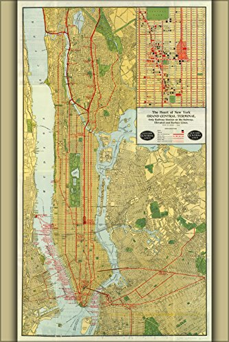 16x24 Poster; 1918 Map Of The New York Central Railroad, New York City