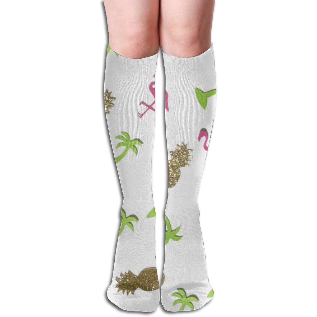 Stretch Stocking Tropical Confetti Soccer Socks Over The Calf Designer For Running,Athletic,Travel