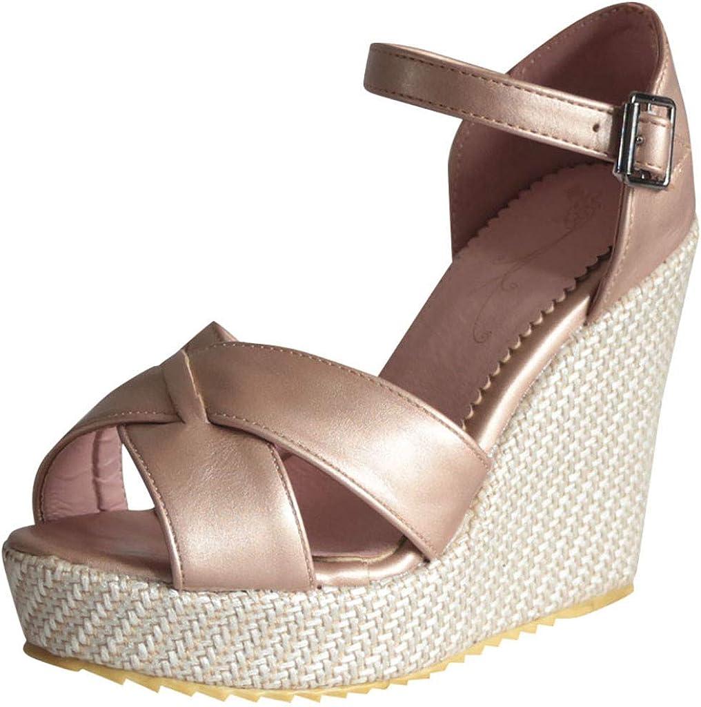 DOLDOA Sandales Compensees Femme été Marron Cuir Chaussures