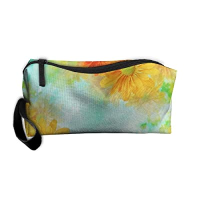 Yellow Daisy Travelling Makeup Pouch For Women Cosmetic Case With Zipper