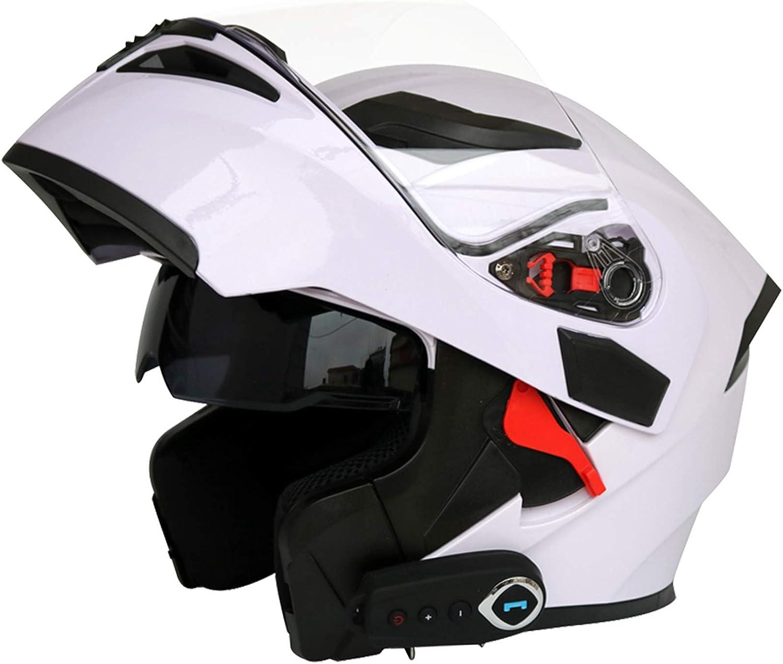 Casco Moto Bluetooth Integrado Con Visera Solar Doble Casco Moto Integral Con FM Cascos Bluetooth Moto Hombre M/L/XL/XXL (57-64 CM)