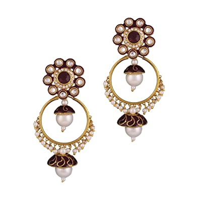 Variation Purple Enamel Two In One Pearl Earrings For Women - VD13956 Earrings at amazon