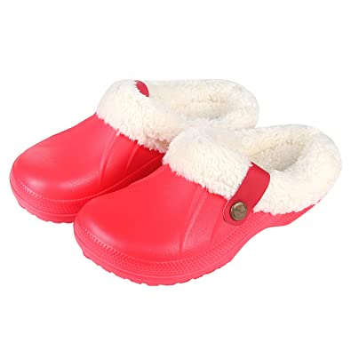 f089fa37f300 Womens Fuzzy House Slippers Warm Faux Fur Lining Fluffy Cozy Slippers  Winter Indoor Outdoor Garden Clogs
