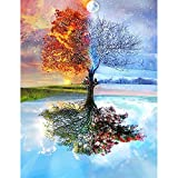 5D Diamond Painting Kit Full Drill DIY Rhinestone Embroidery Cross Stitch Arts Craft for Home Wall Decor Four Seasons of a Tree 12x16 inch