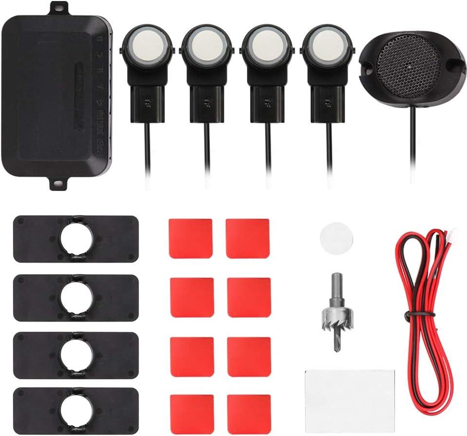 Festnight Car Parking Sensors System Parktronics 4pcs Flat Sensors Reverse Backup Radars Sound Buzzer Alarm Adjustable Sound