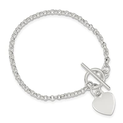 8b964e33b Image Unavailable. Image not available for. Color: 925 Sterling Silver  Heart Bracelet ...