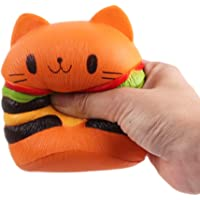 FUNCOCO Kawaii Scented Slow Rising Squishy Charms Squeeze Kid Toy for Stress Relief and Time Killing (Burger Cat)