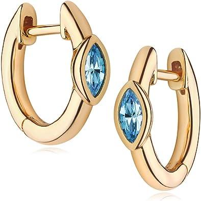BOHO 3 Aquamarine Hoop Earrings