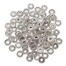 MonkeyJack 100 Pieces Alloy Wheel Shape Tibetan Silver Spacer Beads Jewelry Making Findings Tools for Beading Craft - Silver, 8mm