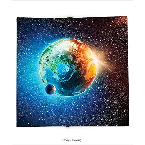 Custom printed Throw Blanket with Outer Space Decor Planet Earth in Sun Rays Elements Astronomy Atmosphere Sky Satellite Moon Lunar Image Inch Orange and Blu Super soft and Cozy Fleece Blanket