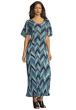 Roamans Women&39s Plus Size Crinkle Short Sleeve Maxi Dress at ...