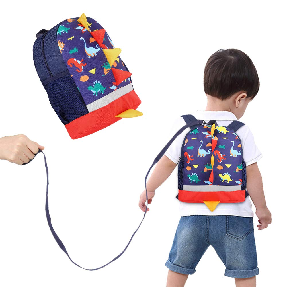 Accmor Toddler Backpack, Cute Anti Lost Baby Backpack Leashes for Kids, Blue Dinosaur Safety Backpack Harness Preschool Bag with Removal Leash for Boys and Girls