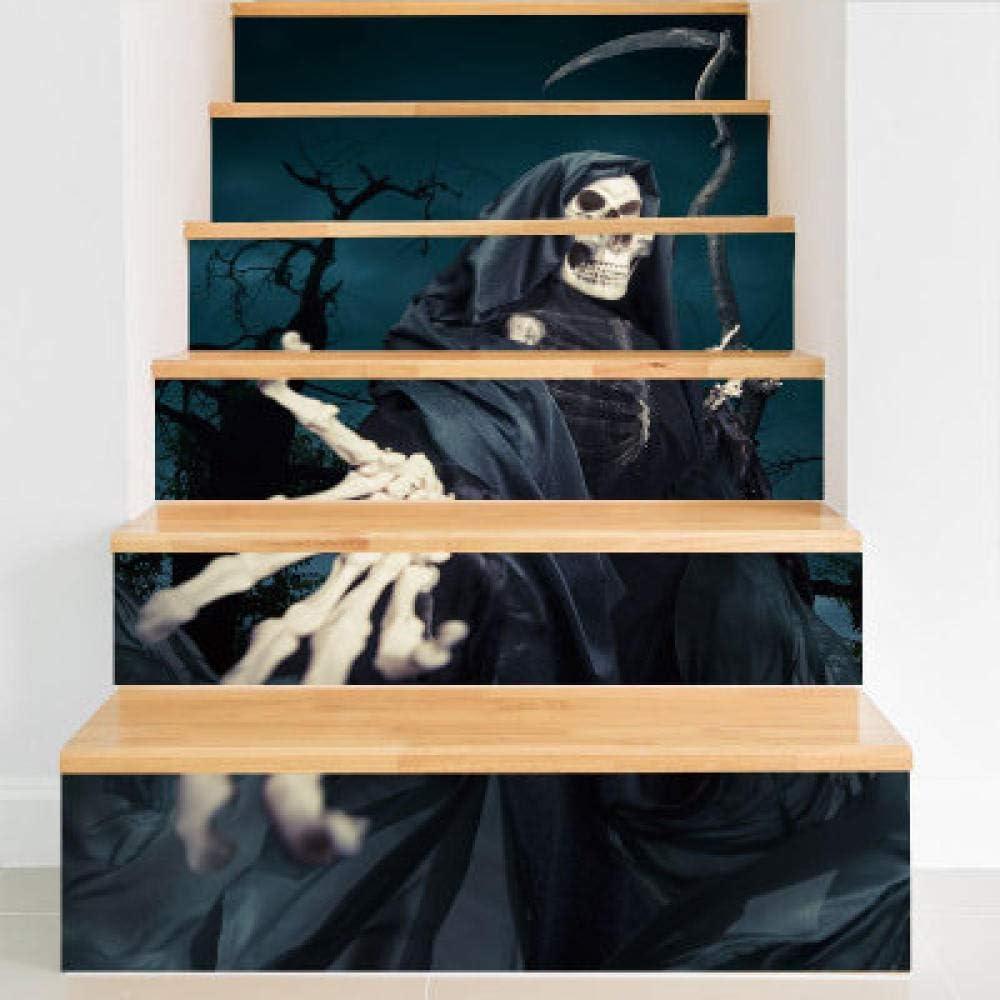 Las nuevas escaleras de Halloween se adhieren a la guadaña de la muerte Personalidad Diversión Decoración navideña Etiqueta de la pared Etiqueta de la escalera autoadhesiva de PVC 100X18Cmx6Pcs: Amazon.es: Bricolaje y