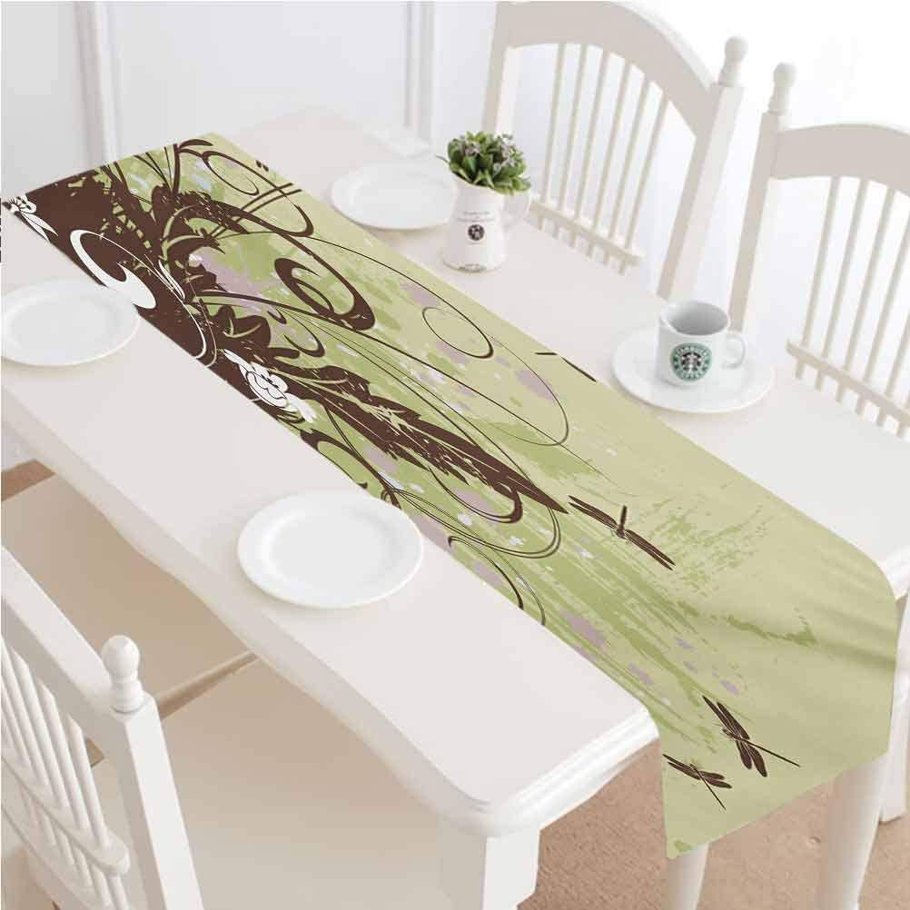 LCGGDB Dragonfly Table Runner Dresser Scarves,Retro Style Flower with Grunge Effects in Vivid Tones Artsy Garden Image Kitchen Table Runners,16x96 Inch,for Party Wedding Baby Shower Decorations