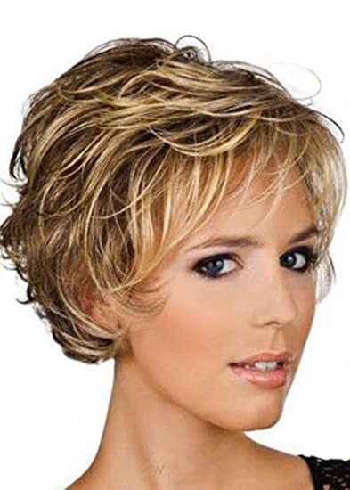 Amazon Com Milisi Short Blonde Hair Curly Synthetic Wigs For White