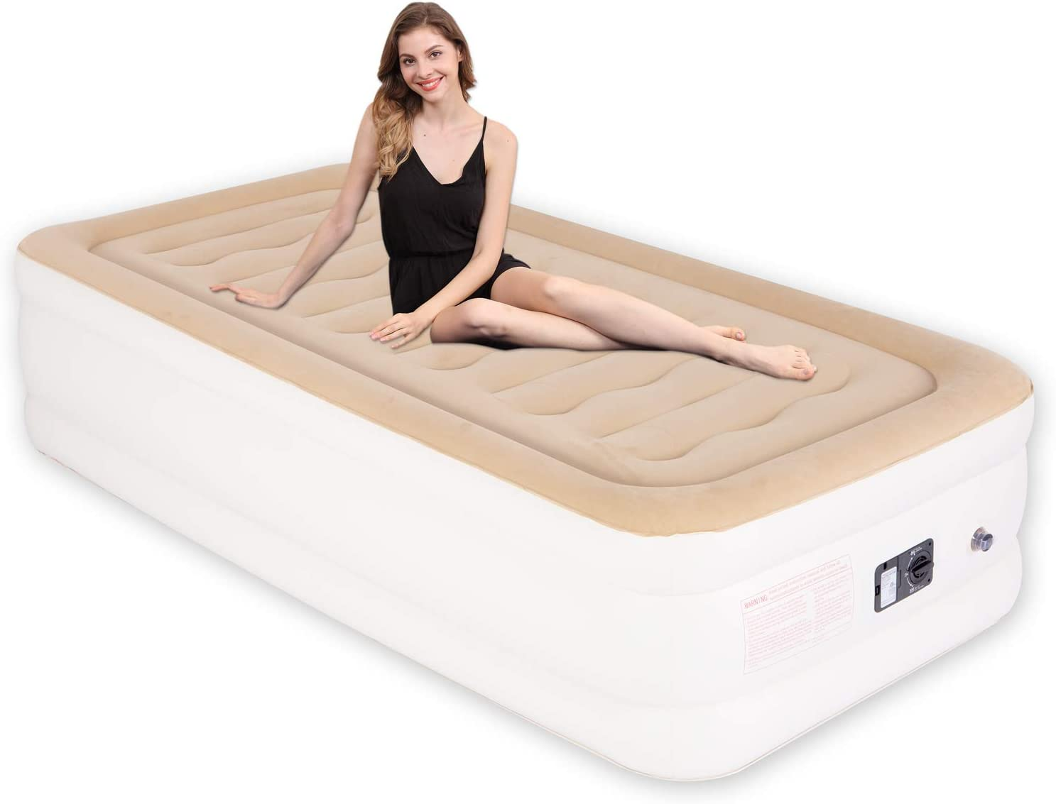 XL Inflatable Mattress for Guests /& Camping Blow Up Mattress Twin with Storage Bag 78 x 40 x 18 inches JOOFO Twin Air Mattress with Built in Pump