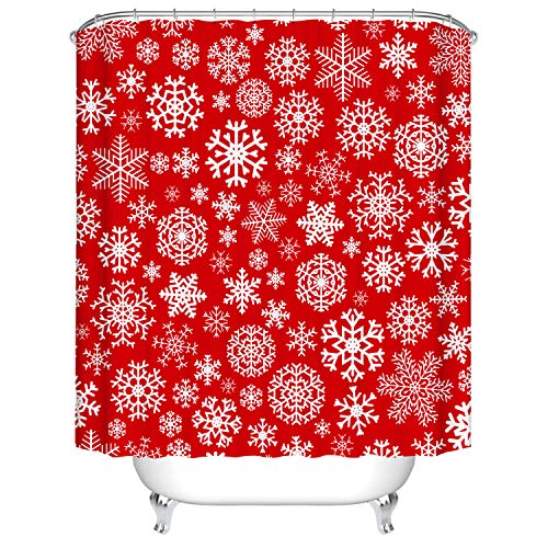 BROSHAN Christmas Fabric Shower Curtain Set,Red Christmas Snowflake Holiday Decoration Art Print Bath Curtain,Polyester Waterproof Bathroom Decor Set with Hooks,72x72 Inch,Red and White