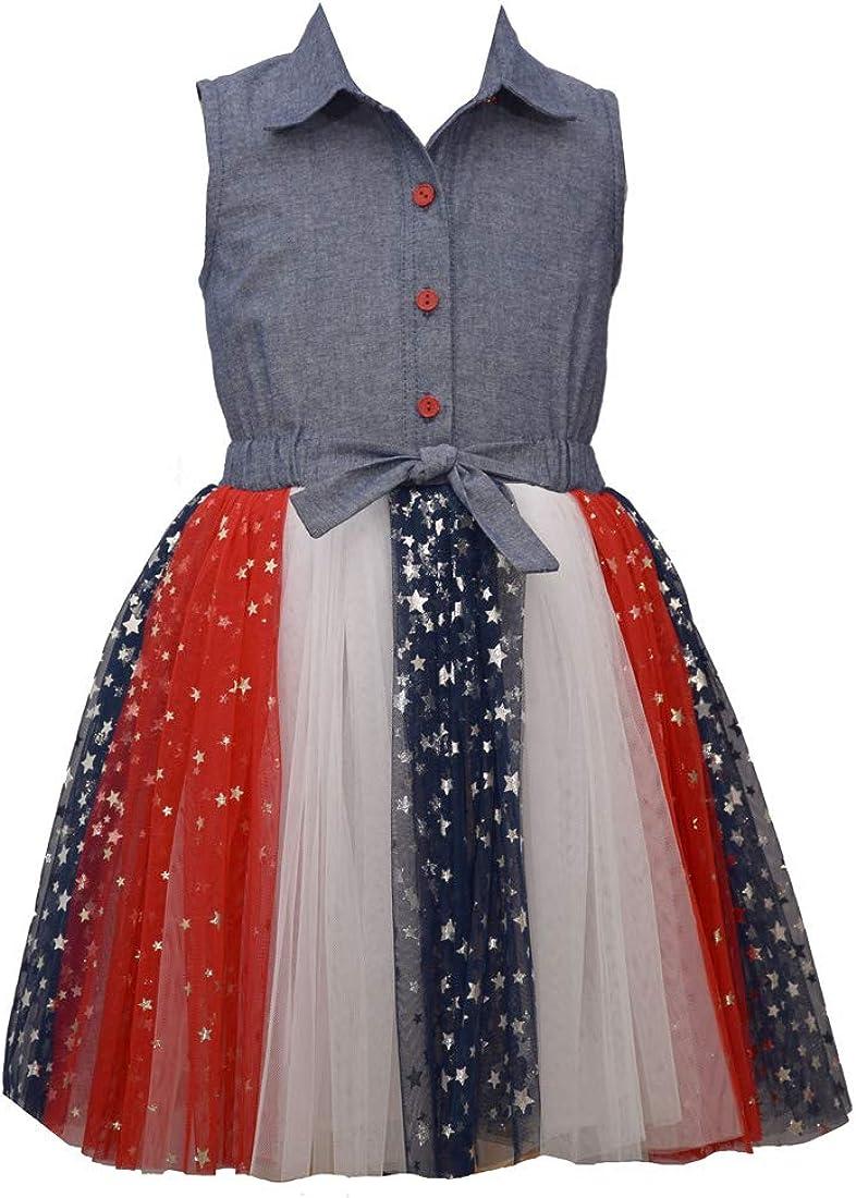 Bonnie Jean Girls 4th of July Dress Chambray Americana Tutu Dress