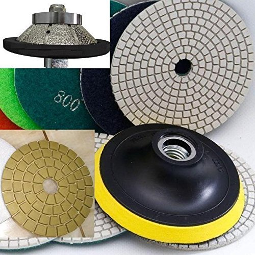 3/8'' E-Shape Diamond Bevel Bullnose / 45 Degree E10 Router Bit Granite Polishing Pad DAMO Buff Stone Concrete Marble Concrete Terrazzo Engineered Stone Quartz