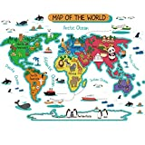 Dktie Large Kids World Map Wall Decals Peel and Stick for Kids Room Bedroom Nursery Decor Art Decal, Removable Wall Stickers Quotes