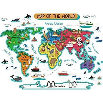 Amazon dktie large kids world map wall decals peel and stick dktie large kids world map wall decals peel and stick for kids room bedroom nursery decor gumiabroncs Images