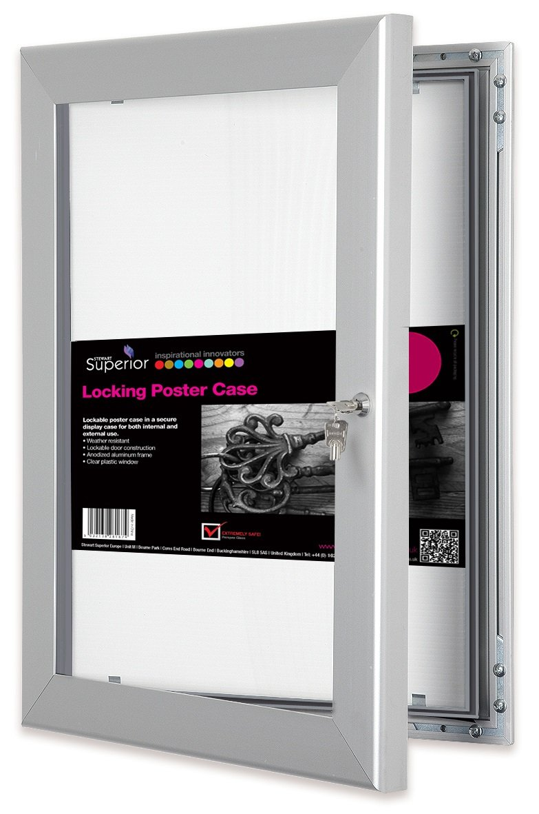 SECO Stewart Superior Locking Indoor/Outdoor Poster Case, Shatterproof, Rustproof, 24''x 36'' in Silver