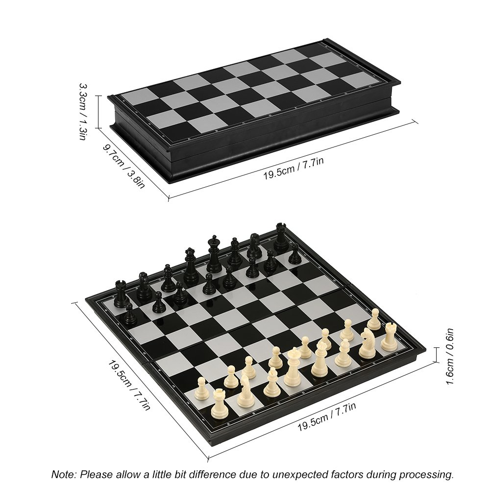 Hykis - Plastic Chess Set International Chess Entertainment Board Game Magnetic Chess Set Folding Educational Toy For Children Party[ S ]