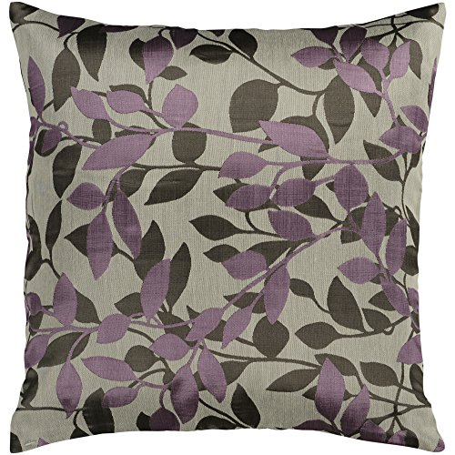 Surya HH-062 Hand Crafted 88 Polyester 12 Polyamide Plum 22 x 22 Floral Decorative Pillow