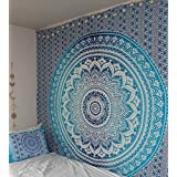 "Exclusivo ""Queen naranja tapiz Ombre por Jaipurhandloom cama Ombre Mandala Tapestry Hippie tapiz hippie colgante de pared tapices bohemio tapices, Azul, 84X85 inches approx, 1"