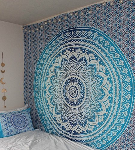 Blue Tapestry Ombre Tapestry Hippie Mandala Bedding Tapestry Wall hanging Psychedelic tapestry Dorm Decor Bohemian Tapestry, Boho Tapestries, Mandala Throw Bedspread (Light Blue Bedding)