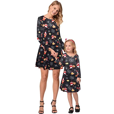 New Mother and Daughter Xmas Dress Matching Women Girl Casual Family Clothing UK