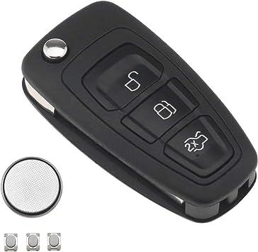 Ototec Schlüssel Gehäuse Fernbedienung Für Ford 3 Tasten Autoschlüssel Diy Reparatursatz Für Schlüsselanhänger Kompatibel Mit Ford Transit Connect Benutzerdefinierter Auto