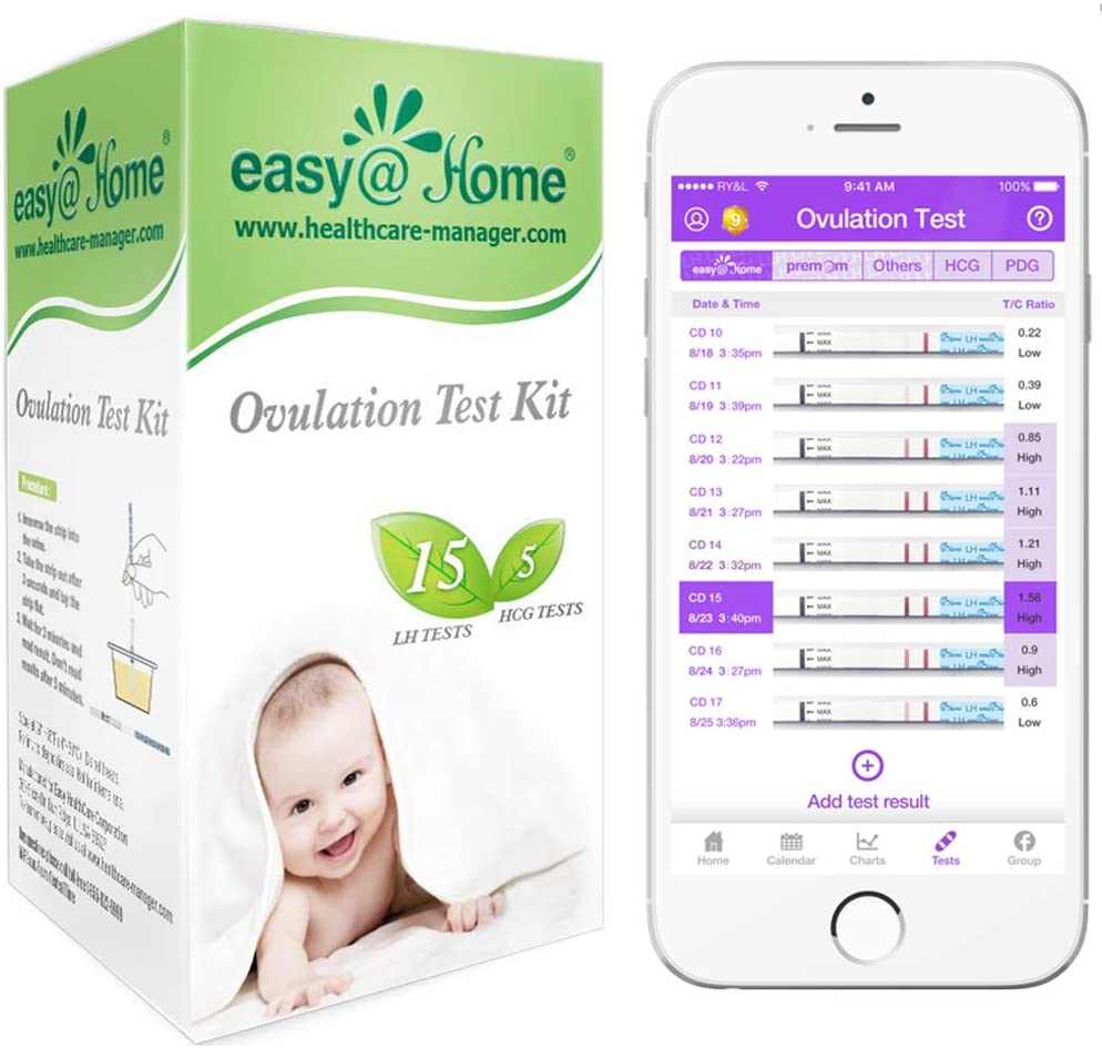 Easy@Home 15 Ovulation Test Strips and 5 Pregnancy Test Strips Combo Kit, (15 LH + 5 HCG)
