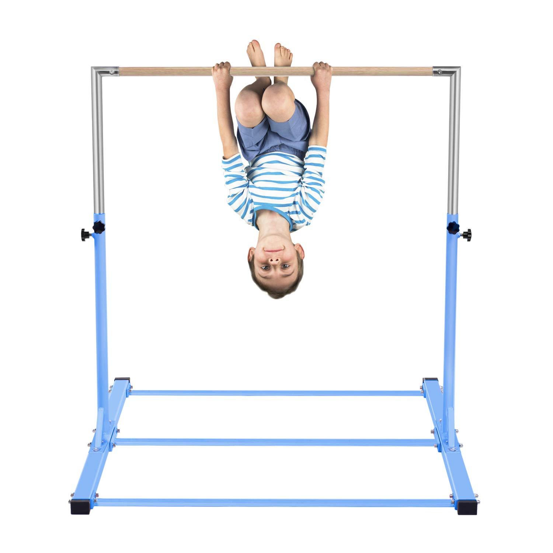 7c3f3b698893 Amazon.com : Safly Zone Gymnastics Junior Training Bar for Kids  Expandable  Gym Jr Horizontal Kip Bar for Gymnast Beginner Home Training Blue Color :  Sports ...