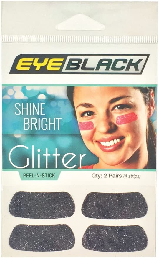 EyeBlack Black Softball Glitter Eye Black Strips, 2 Pair