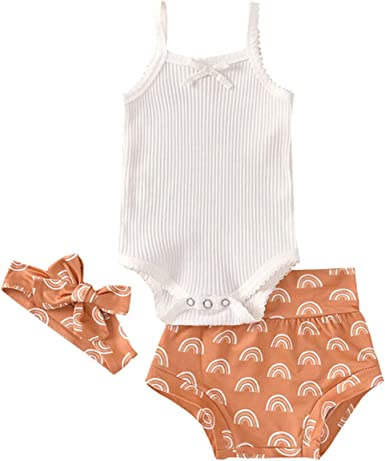 3pcs Newborn Baby Girls Shorts Set Cotton Short Sleeve Romper Jumpsuit Bodysuit Pants Shorts+Headband Outfit Set