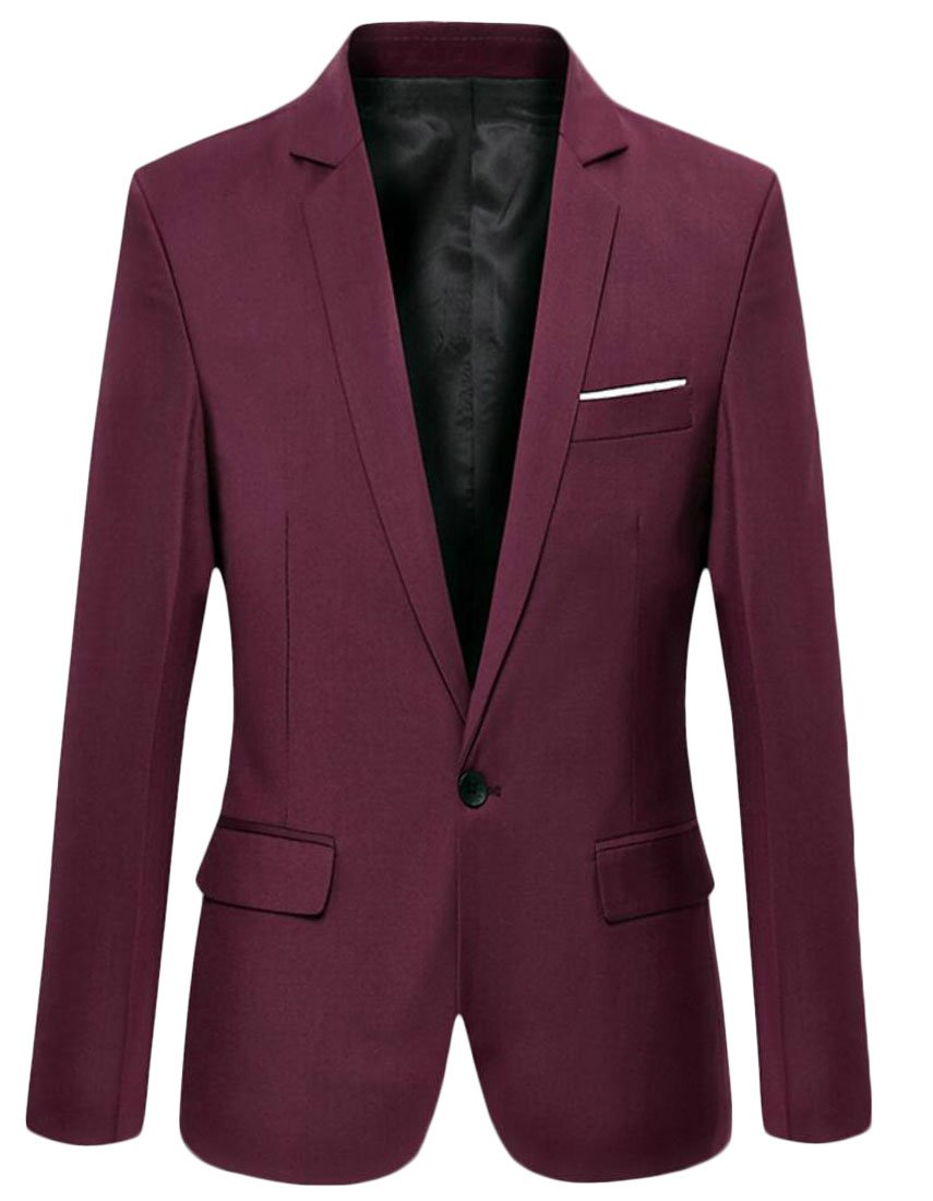 M&S&W Men's Long Sleeve One Button Casual Suit Jacket Wine Red XS