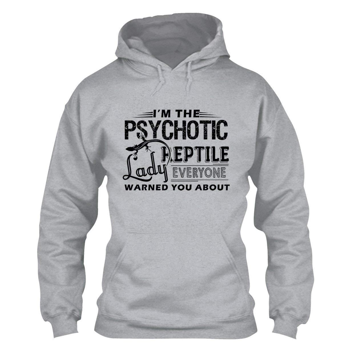 EZARO Psychotic Reptile Lady Hoodie, Long Sleeve Hoodies, Clothes Grey,S