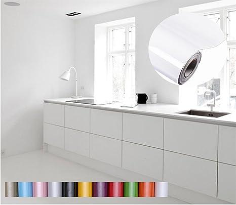 Liveinu Sticker Kitchen Cupboards Pvc Wallpaper Kitchen Self Adhesive Film Furniture Waterproof Sticker For Cabinet Kitchen Cupboards Furniture Self Adhesive Film Kitchen Cabinet White 0 6 X 8 M Amazon De Kuche Haushalt