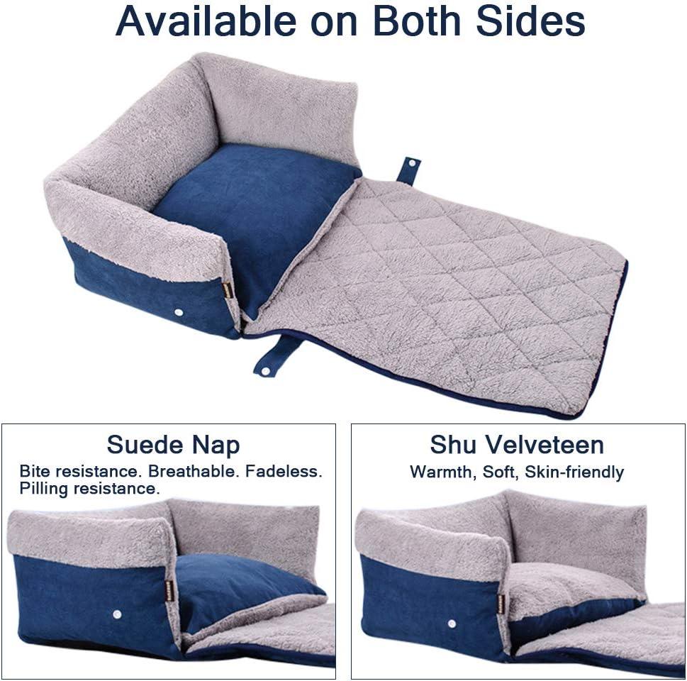 FREESOO-Panier-Lit-pour-Chien-Chat-3-en-1-Super-Doux-Confortable-M-M-Bleu miniature 4